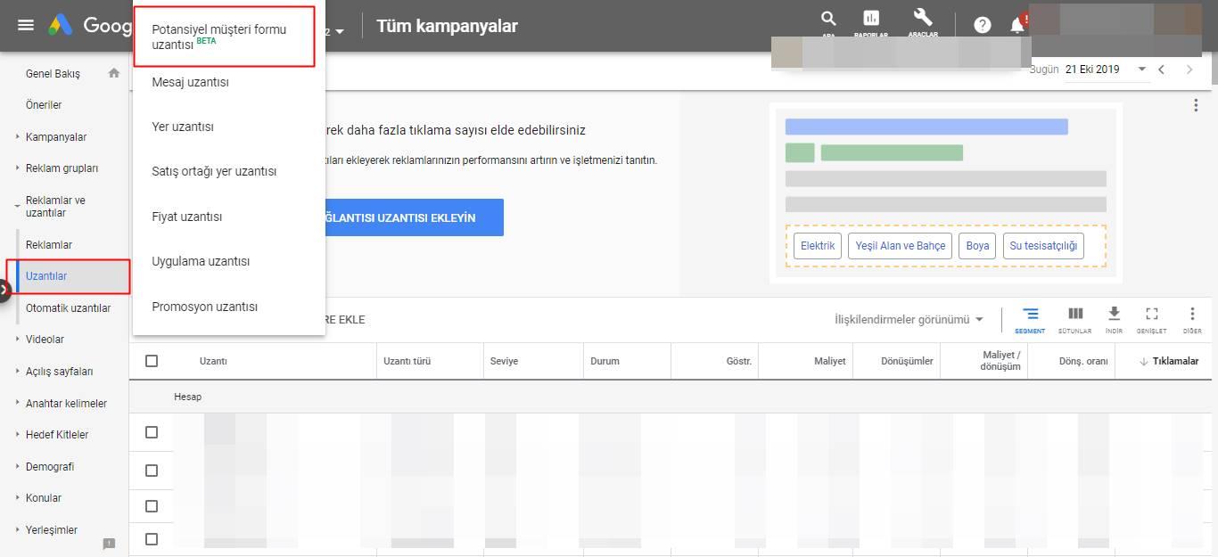 Google Ads Potansiyel Müşteri Formu Uzantısı Nasıl Oluşturulur?