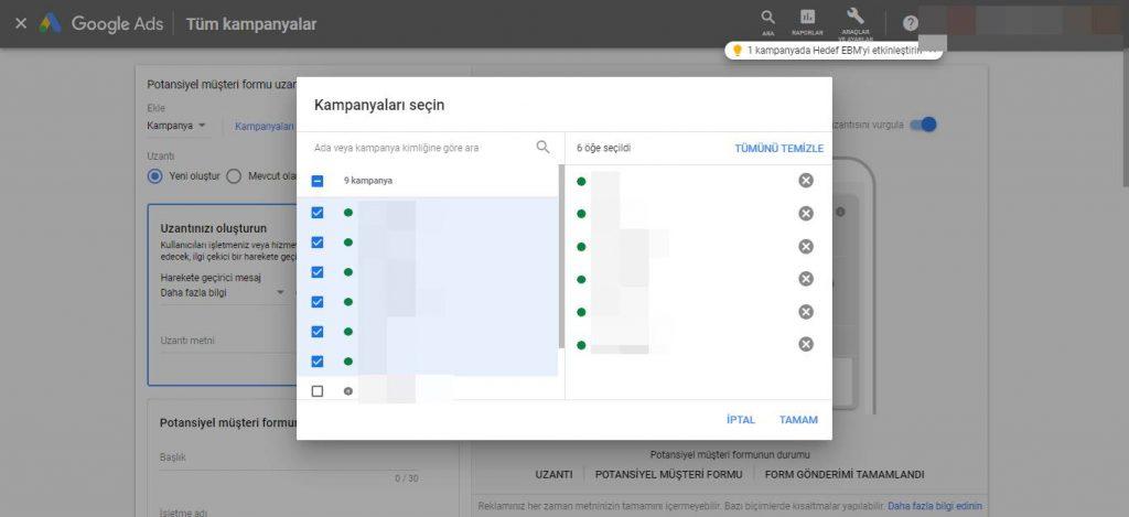 Google Ads Potansiyel Müşteri Formu Kampanya Seçimi