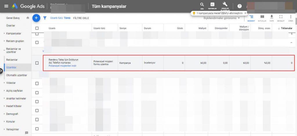 Google Ads Potansiyel Müşteri Formu Uzantısı Görüntüleme