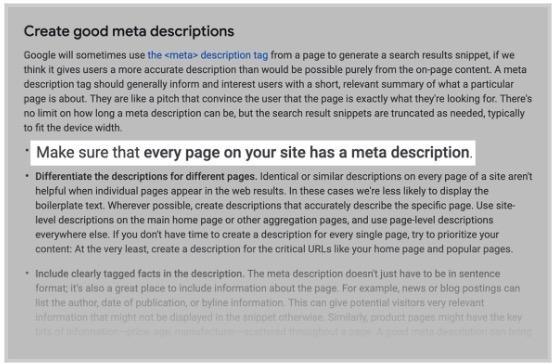 Google, halen her bir sayfa için özgün açıklama (description) yazılmasını tavsiye etmektedir.