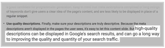 İyi yazılmış açıklama metinlerinin daha fazla tıklama alacağını Google açıkça söylemektedir.